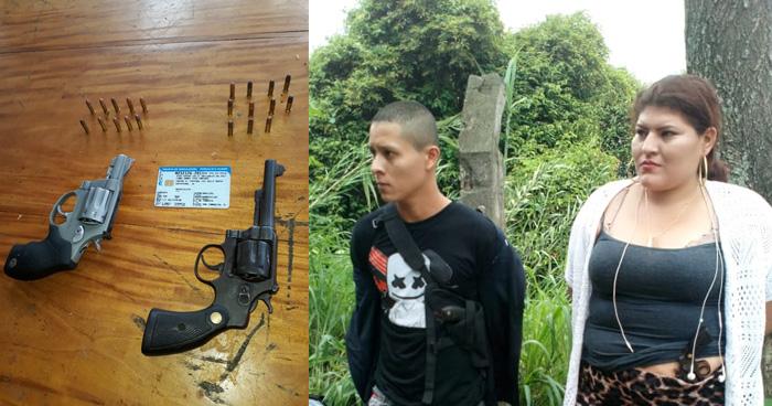Capturan a pareja de pandilleros con armas de fuego en Santa Ana