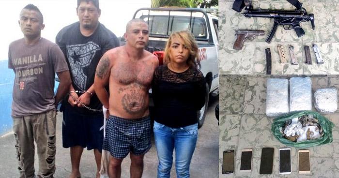 Capturan a peligrosos pandilleros con armas y droga en Santa Ana