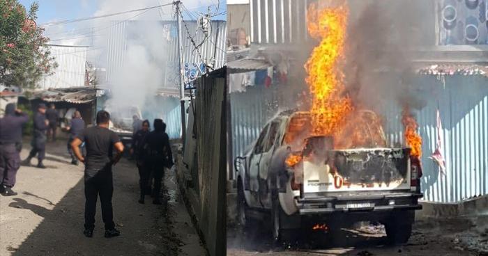 Pandilleros incendian patrulla policial en Santa Tecla