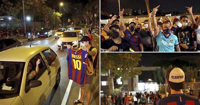 Protestas en los alrededores del Camp Nou por la posible salida de Messi