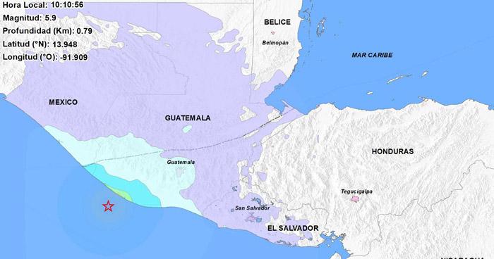 Sismo de 5.9 en Guatemala sacudió esta mañana el occidente de El Salvador