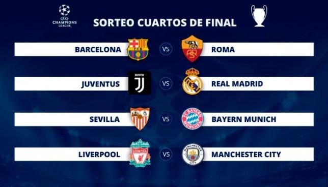Juventus-Real Madrid, Barcelona-Roma y Sevilla-Bayern en los cuartos de final de la Champions