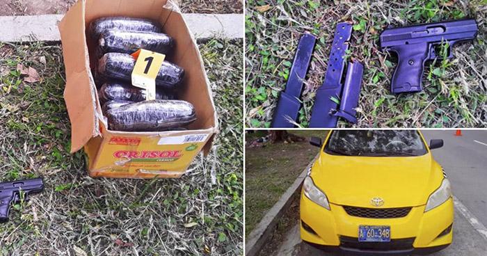 Incautan 16 paquetes de Marihuana que transportaba en un taxi