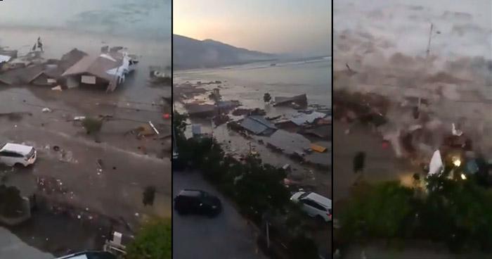 VIDEO: Un tsunami azota Indonesia tras un fuerte terremoto de 7.5