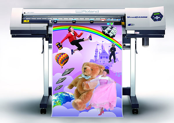 photo of a Rolan digital printer printing a vibrantly coloured children's poster