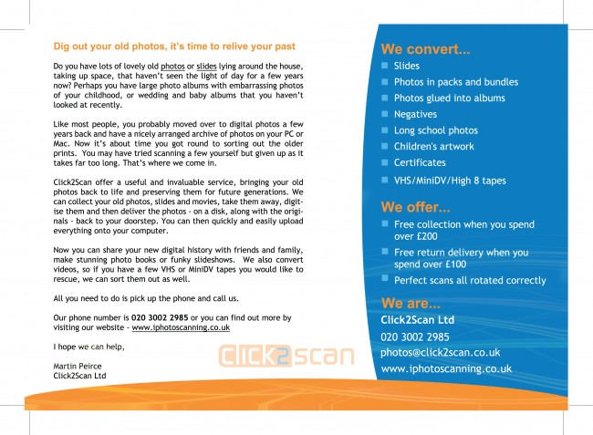 A5 Gloss Leaflets printed by Solopress for Click2Scan - back