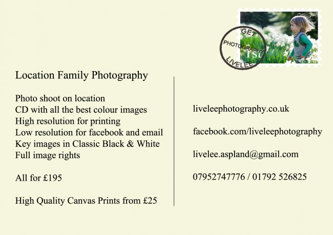 Livelee Family Photography gloss A6 flyers printed by Solopress