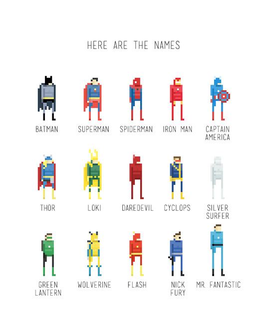 8bit super hero character designs