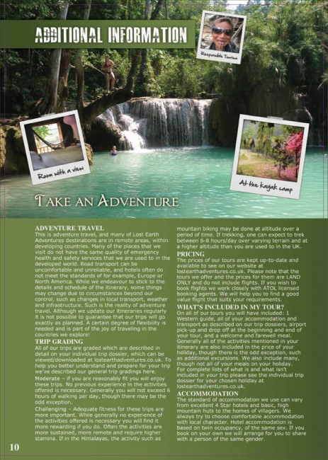 Lost Earth Adventures travel brochures inside page