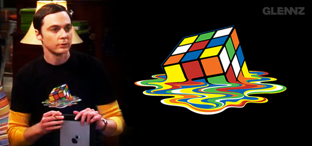 Sheldon wearing Melting Rubiks T-shirt