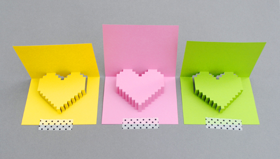 Cute, multicoloured 3D pixel heart tutorial - perfect gift for Valentines