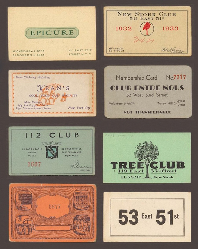 Group Of 6 1920s   1933 Membership Cards Using At Speakeasies.  Membership Cards Templates