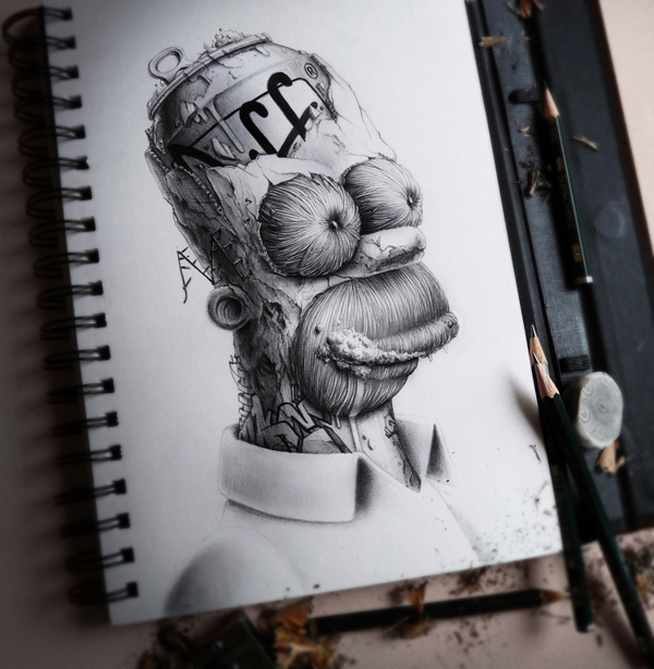Graphic artwork created with lead pencil of Homer Simpson with an open skull made of Duff bear