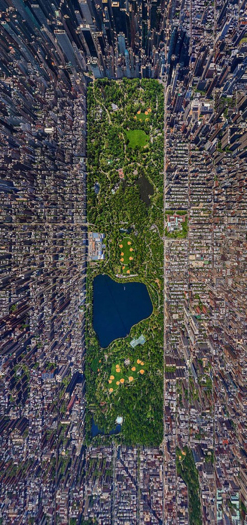 Bird's eye view of Central Park in New York City, America by Russian photographer Sergey Semenov