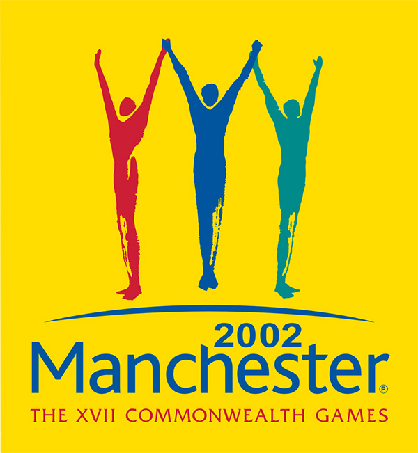 Logo of the Commonwealth Games held in Manchester in 2002 has a symbol of 3 different coloured figures all holding hands up high