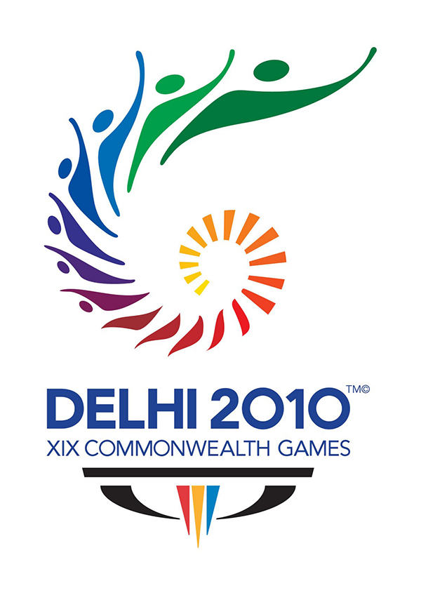 Logo for the Commonwealth Games in Delhi 2010 is on a white background with a spiral made up of multicoloured people