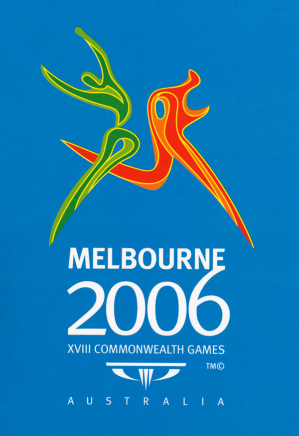 Official logo for The Commonwealth Games in Melbourne 2006 has a light blue background and two sharp figures amidst in sport