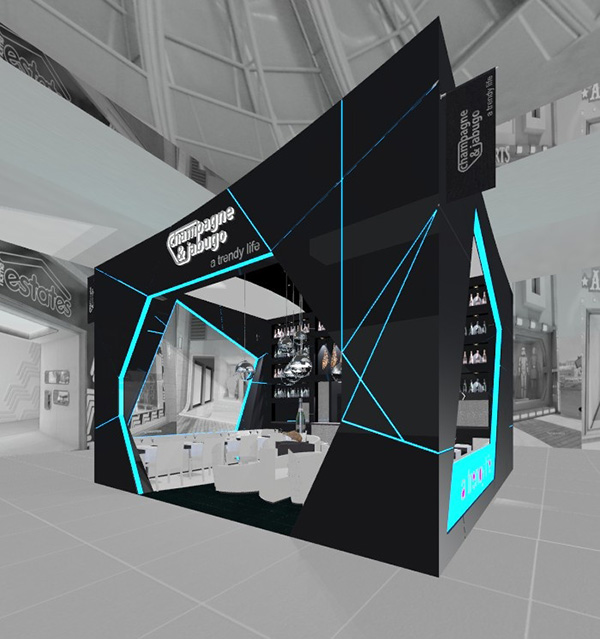 Quirky ultra-blue and black 'champagne and jubugo' exhibition stand has sharp lines and modern, white interior