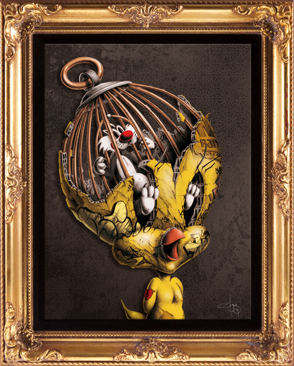 Tweety Bird artwork made by PEZ Artwork with Sylvester in a bird cage in its head