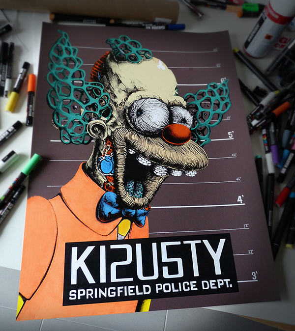 Krusty The Clown artwork on a 'wanted' springfield police department sheet