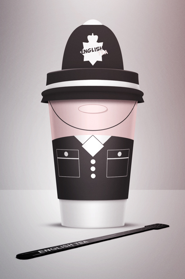 Image of the first coffee cup - 'English Tea' is of an english police officer in his black uniform. The lid is of the police hat and the cup of the body