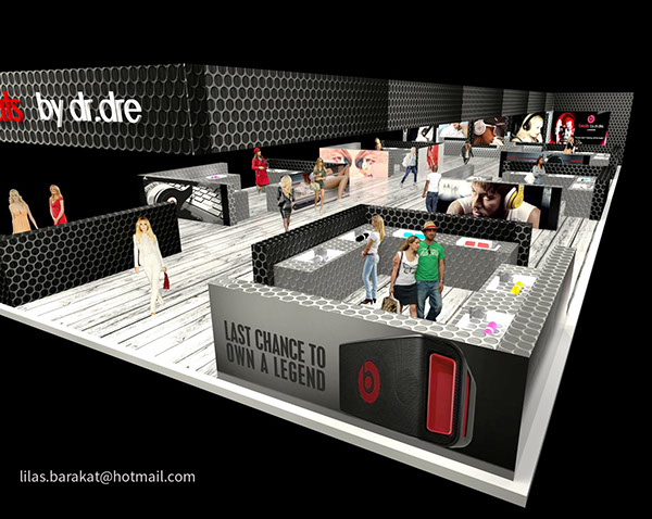 Beats exhibition stand design concept has loads of sections