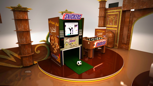 Snickers' section with a life football arcade game and table