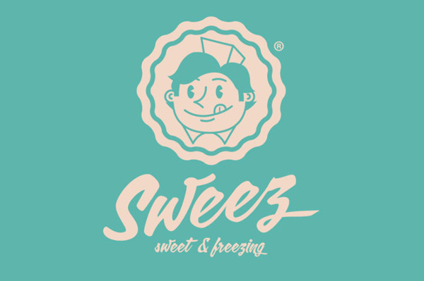 Sweez logo - teal background with cream / beige cartoon and typography