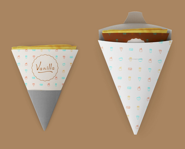Vanilla coffee shop packaging for pancakes - looks like a piece of bunting
