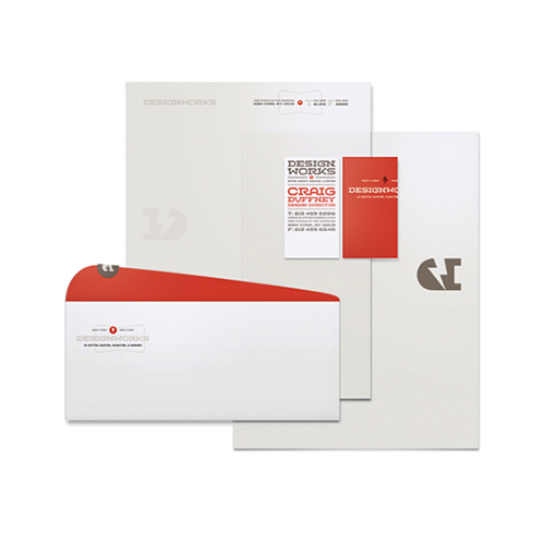 Design Works creative company letterhead and envelopes
