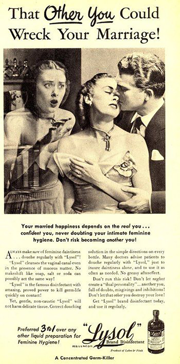 Marketing campaign by Lysol advertises to women to maintain their feminine hygeine