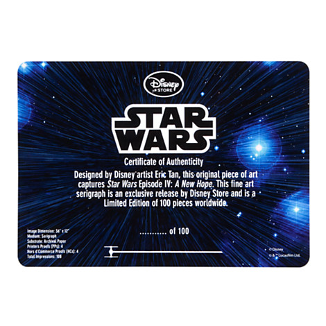 Star Wars movie poster certificate of authenticity