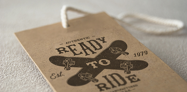 Swing tags printed on uncoated 380mic Pulp