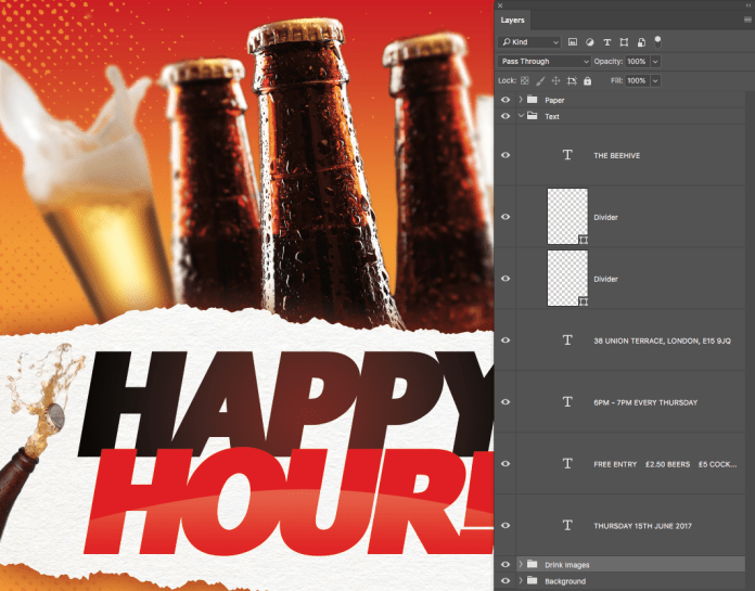 Free Happy Hour Flyer & Poster PSD Template Layers