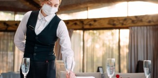 Restaurant Waitress Wearing Face Mask