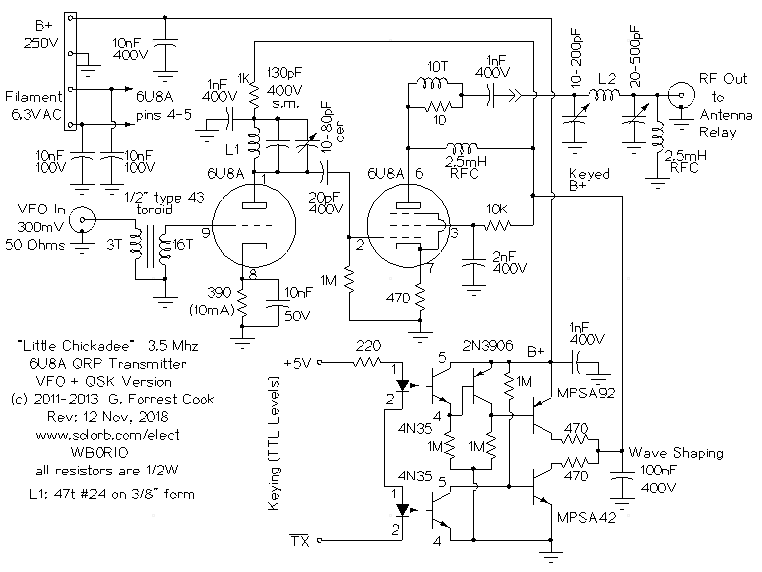 The Little Chickadee 6U8A QRP Transmitter
