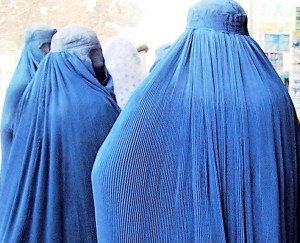 Three Women in Burqas in Kabul, Afghanistan