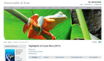 """Abercrombie & Kent - Waiving Single Supplement Fee on 'Highlights of Costa Rica"""" Journey When Booked by Jan. 15, 2011."""