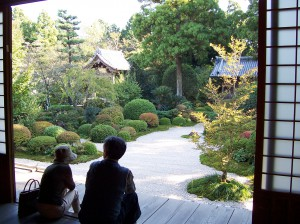 Couple Relaxes at a Temple in Japan