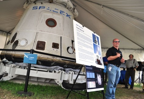 Former NASA Astronaut Now SpaceX Engineer Garrett Reisman with Dragon Capsule, July 8, 2011