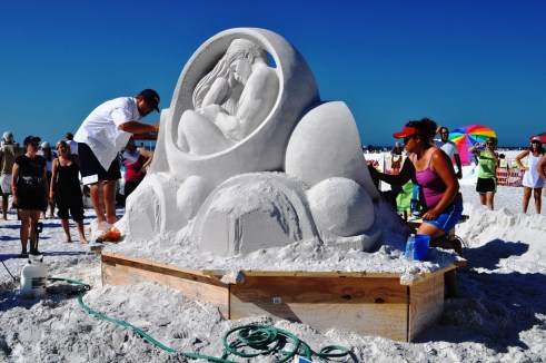 """Circle of Life"" by Sandis Kondrats & Sue McGraw, Won the 2010 2010 Siesta Key Crystal Classic Master Sand Sculpting Competition"