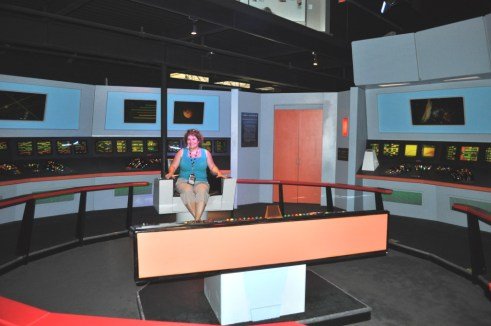 Sitting in the Command Chair of Capt. James T. Kirk, Star Trek: The Exhibition, Kennedy Space Center Visitor Complex, Fla.