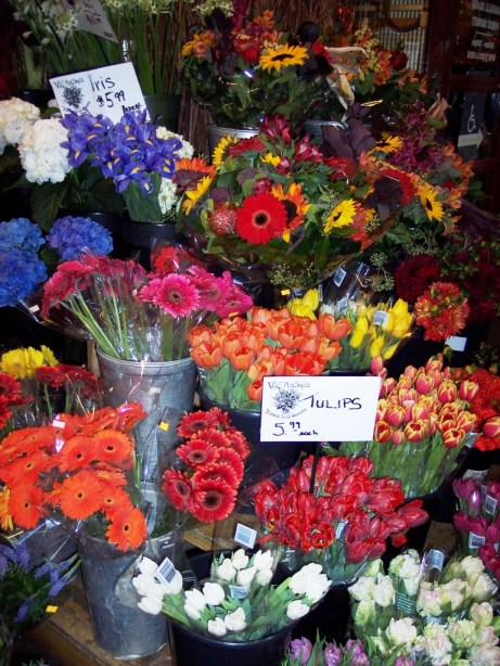 Stop and Smell the Fresh Flowers at Granville Market, Vancouver, B.C., Canada