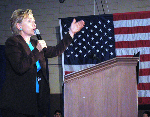 Sen. Hillary Clinton campaigned in Winter Park, Fla., on Sat., Nov. 1, for Barack Obama.