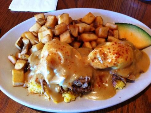 Pulled Pork and Cheddar Bennie at Haywood Cafe, Keystone, Colo.