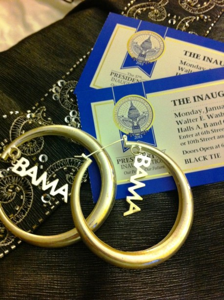 Tickets, Dress and Erika Peña Earrings for the Official Inaugural Ball, Jan. 21, 2013