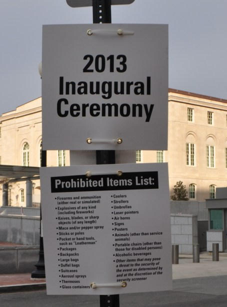 List of Prohibited Items into the Ticketed Areas of the 2013 Inaugural Ceremony, Washington, D.C., Jan. 21, 2013