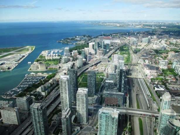 View of Toronto and Lake Ontario from the CN Tower's LookOut Level