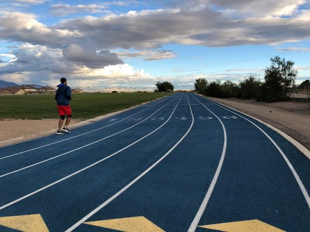 Bring a buddy on training runs if you can. My buddy lapping me at the track.