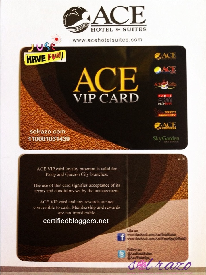 Ace VIP Card for only 1,385.00 with perks worth 8-10K